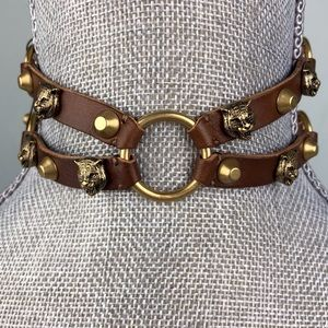 Gucci Brown Leather Feline Head Choker Necklace